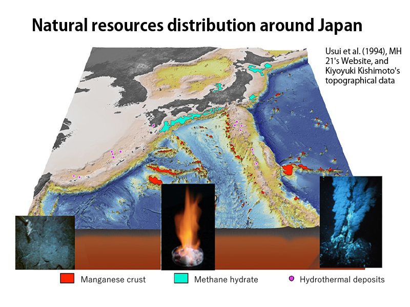 Natural resources distribution around Japan
