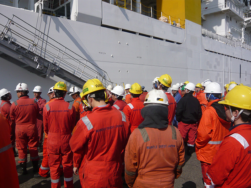 The shipboard evacuation drill is performed once a week.