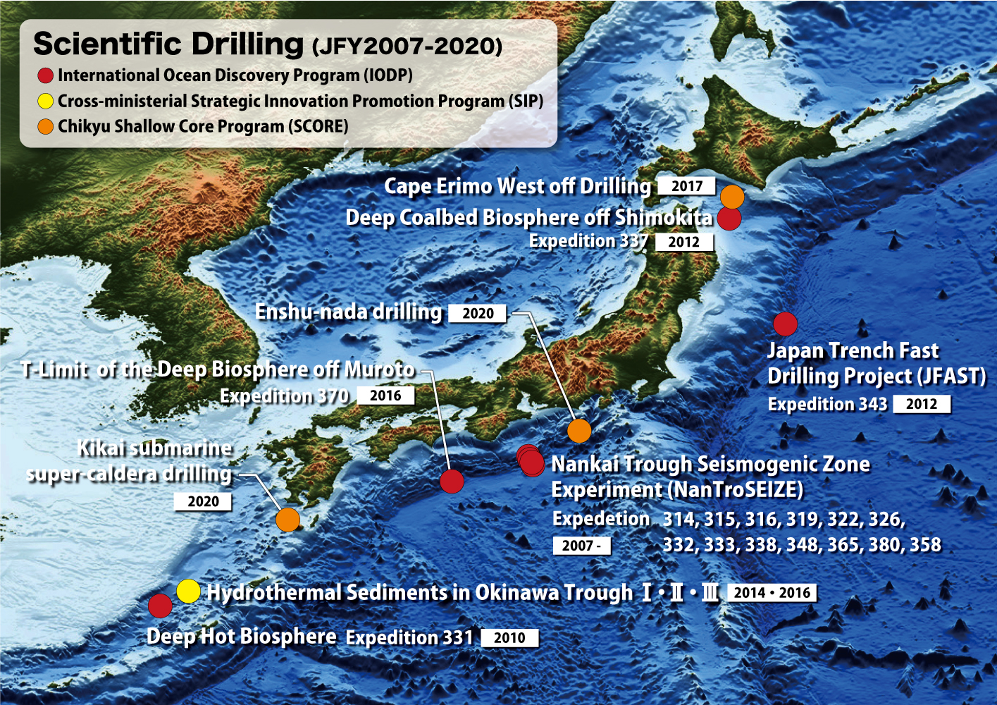 Drilling site map for Scientific drilling by D/V Chikyu