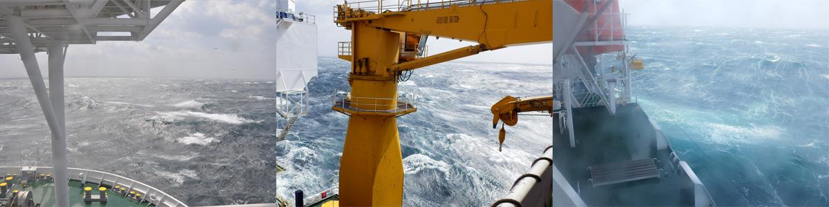 こんな嵐とのときは掘削を中止して、安全な海域に避難します。