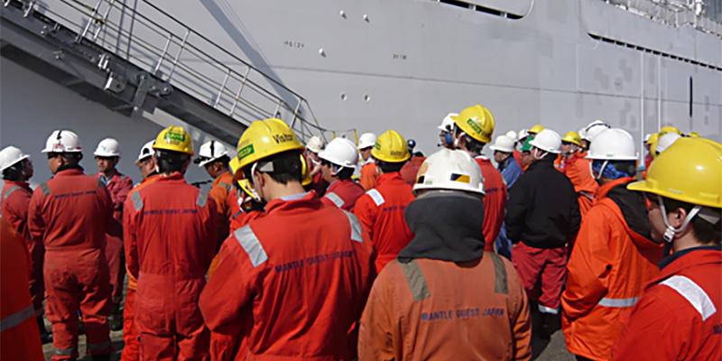 港にいるときも週1回は避難訓練を実施しています